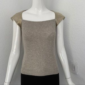 Ralph Lauren gray embellished cashmere sweater